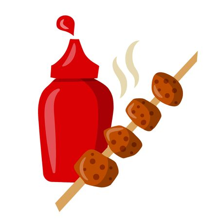 illustration of the cartoon illustration of the grilled kebab with tomato ketchup