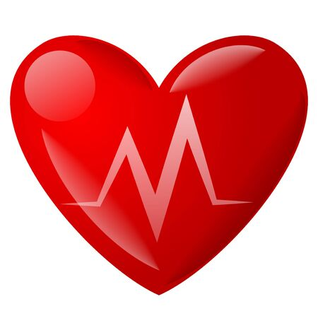 illustration of the heart pulse cardiogram icon and symbol