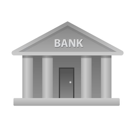illustration of the bank building icon on the white background Illustration