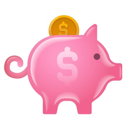 illustration of the piggy bank moneybox icon on the white background Illustration