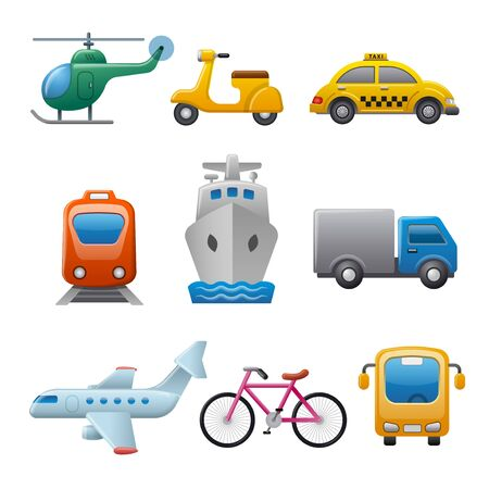 set of illustrations for concept icons of transport and travel