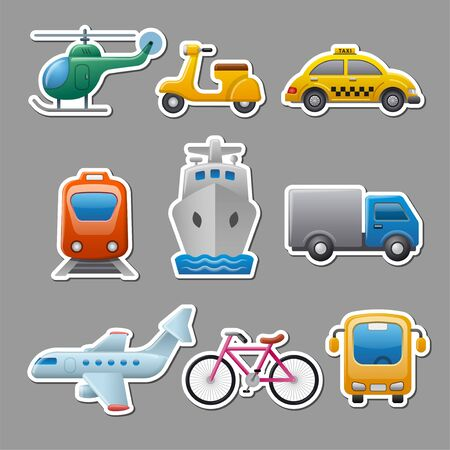 set of illustrations for concept stickers and tags of transport and travel
