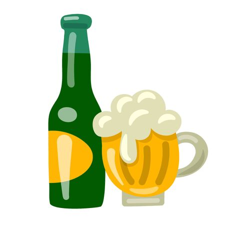 illustration of the beer glass and bottle on the white background Illustration