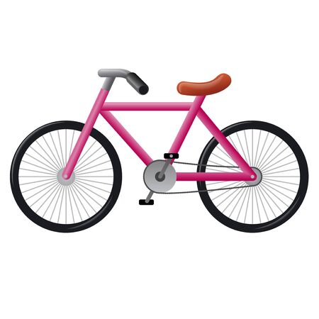 illustration of the pink bicycle icon on the white background