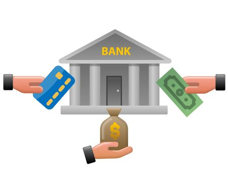 concept colorful illustration of bank earnings icon