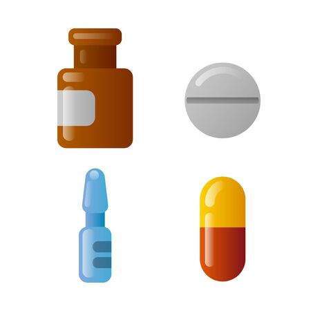 illustration of the drugs and medicaments icon set