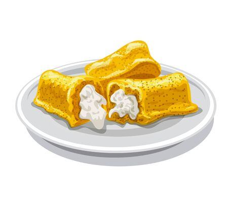illustration of the twinkie vanilla cakes with a cream on the plate