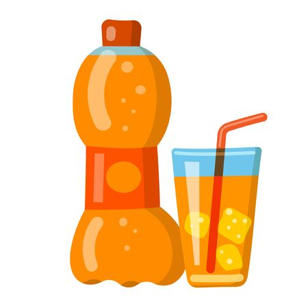 illustration of the orange soda fizzy drink and beverage icon