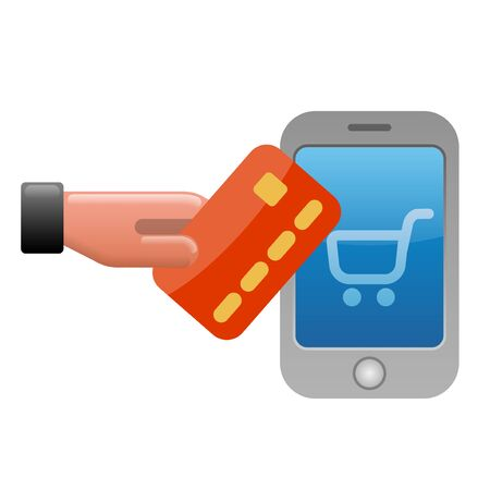 illustration of money transfer by the smartphone and credit card