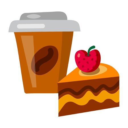 illustration of the coffee cup with a slice of tart Illustration