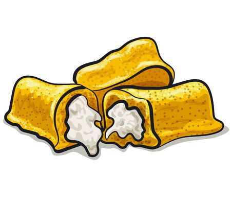 illustration of the twinkie vanilla cakes with a cream on the white background