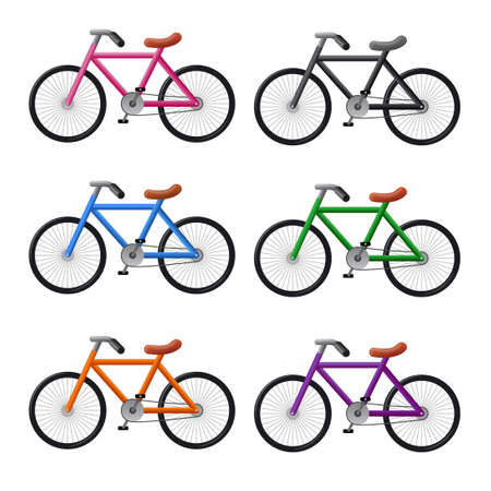 illustration of the colorful bicycles icon set on the white background