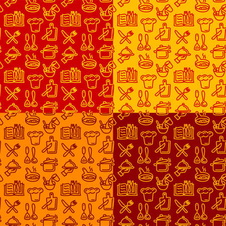 illustration of the cooking and preparation colorful food seamless patterns