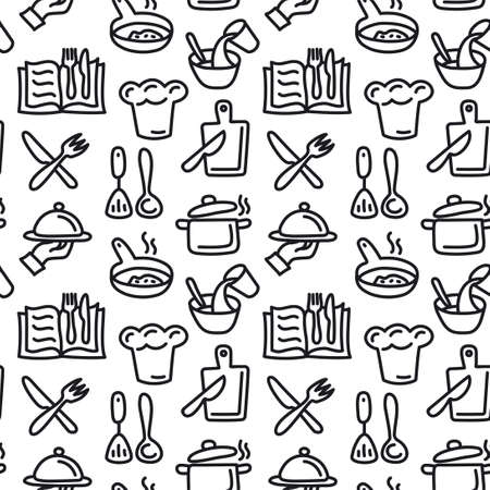 illustration of the cooking and preparation food seamless pattern Illustration