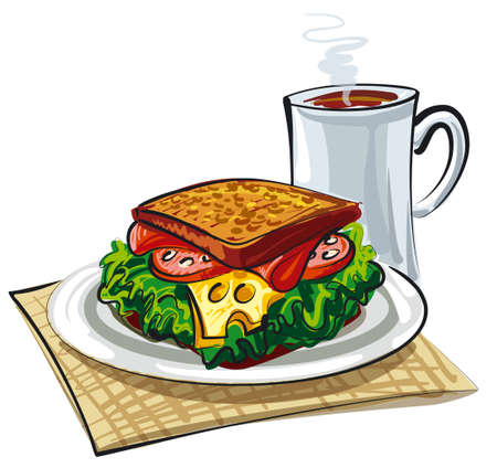 illustration of sandwich with lettuce, sausage, coffee and cheese Illustration