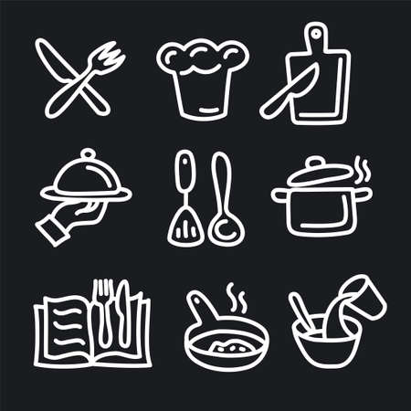 illustration of the cooking and preparation food icons set Illustration