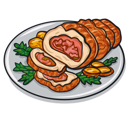 illustration of the pork roulade with baked potato on the plate