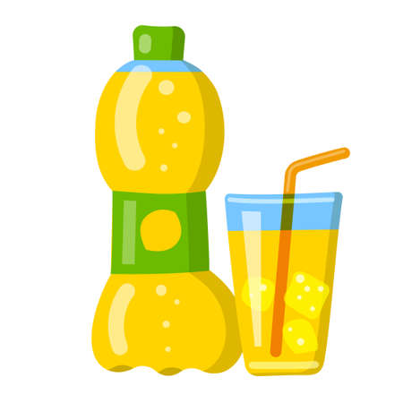 illustration of the lemon soda fizzy drink and beverage icon
