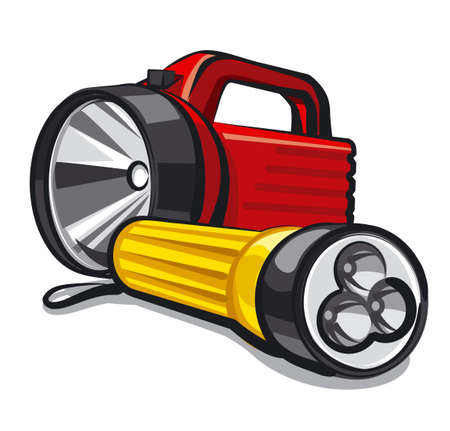 illustration of the two portable flashlights on the white background Illustration