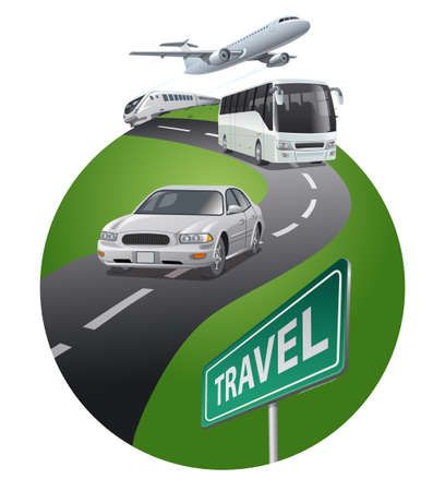 concept illustration of travels around the by the transport