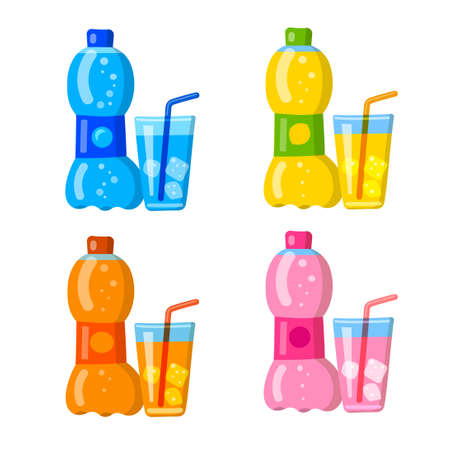 illustration of the fruits soda fizzy drink and beverages icons