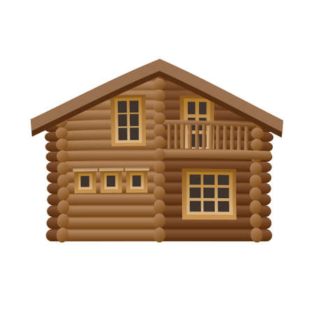 illustration of the wooden hut on the white background
