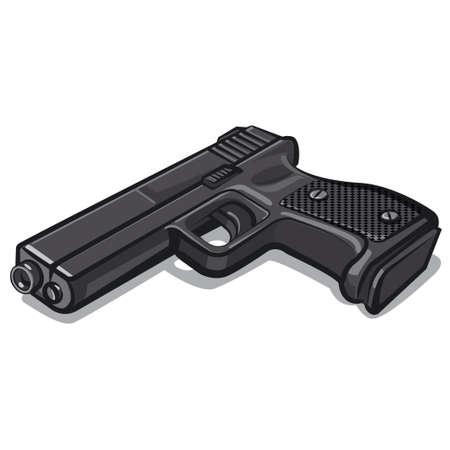 illustration of the black metal handgun on the white background