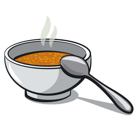 illustration of the bowl with a hot soup