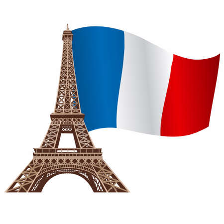 illustration of eiffel tower, landmark with national flag of France 向量圖像