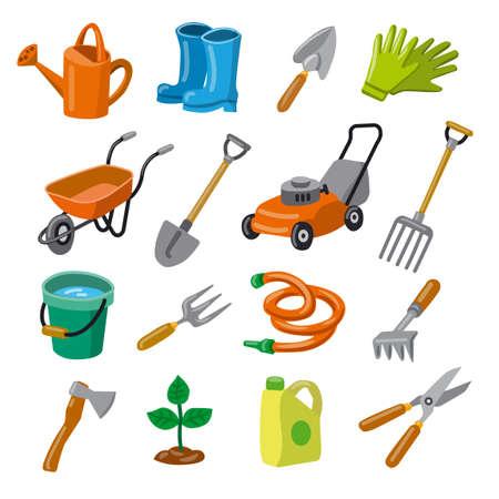 illustration of gardening tools icon set