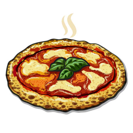 illustration of the neapolitan pizza on the wooden board
