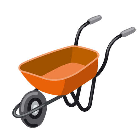 illustration of the empty red wheelbarrow on the white background