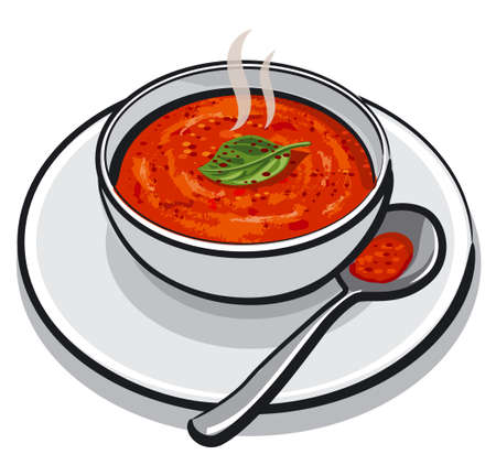 illustration of the hot tomato soup with a basil in a bowl