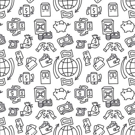 illustration of the business finance seamless pattern black and white