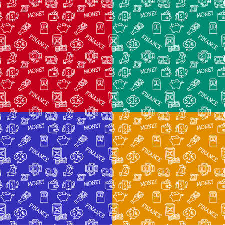 illustration of the business finance seamless patterns in a different colors 矢量图像