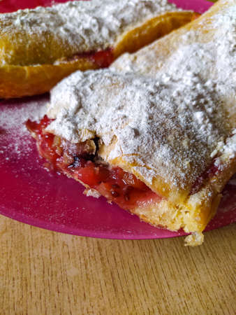photo image of the fruit and berries strudel on the plate