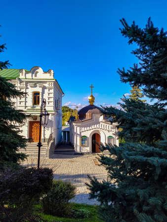 orthodox manastery church in the autumn sunny day