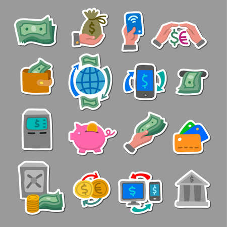 illustration of the financial and banking color flat stickers and badges