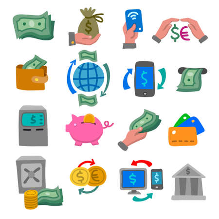 illustration of the financial and banking color flat icons