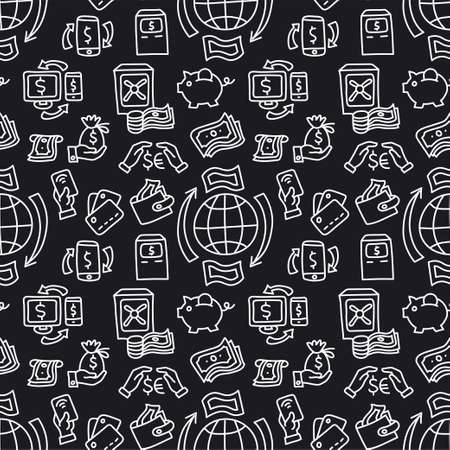 illustration of the finance seamless pattern black and white