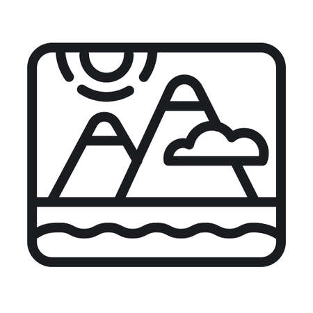illustration of the mountains and sea landscape nature  sign