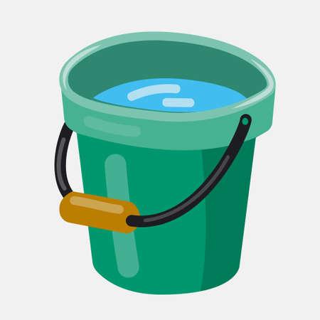 Bucket. Flat vector illustration. Bucket with water.