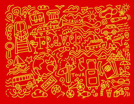 travel background and doodles in a red and yellow colors outlines
