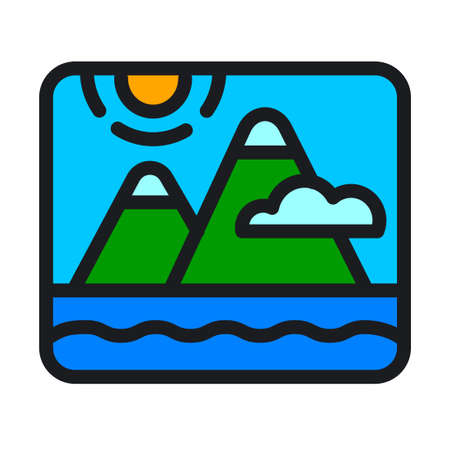 Ilustration of the mountains and sea landscape nature 矢量图像