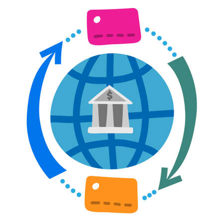 illustration of the global finance and banking transfer money concept icon