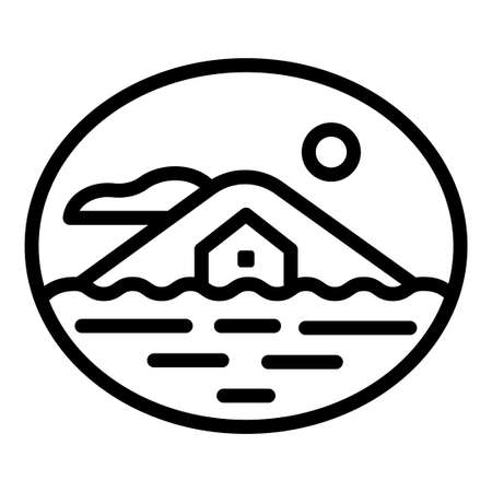 sea accommodation house and real estate symbol and emblem