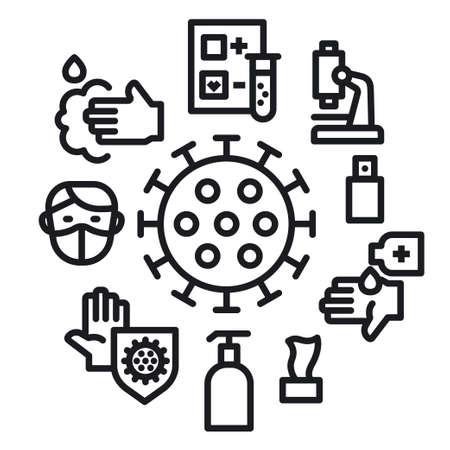 Concept Illustration of the Coronavirus Protection Line Icon