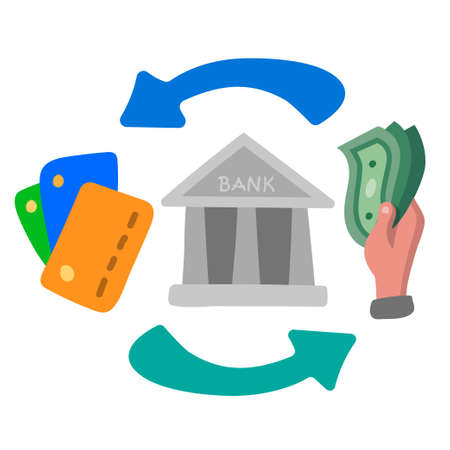 illustration of the finance and banking transfer icon concept icon 矢量图像