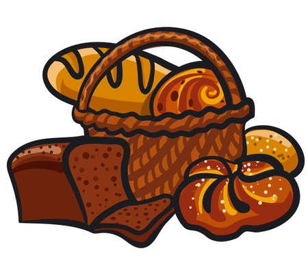 Illustration of the bread. Rye, whole grain and wheat bread, pita , ciabatta, croissant, bagel, toast bread for design menu bakery. 矢量图像