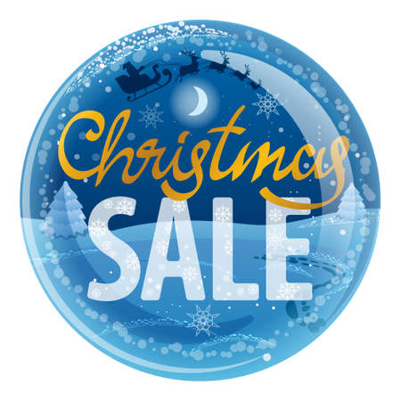 advertising illustration of christmas ball for discount sale